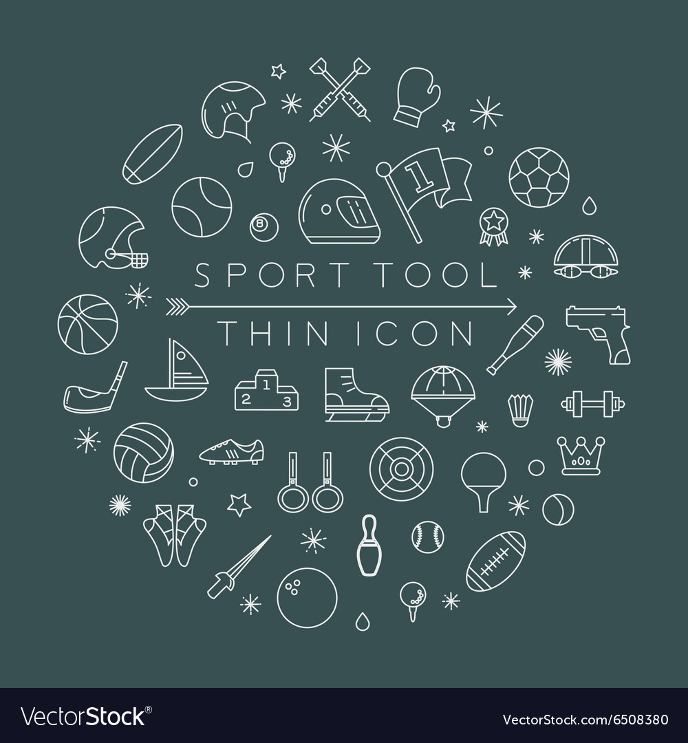 Sport thin icons eps10 format vector