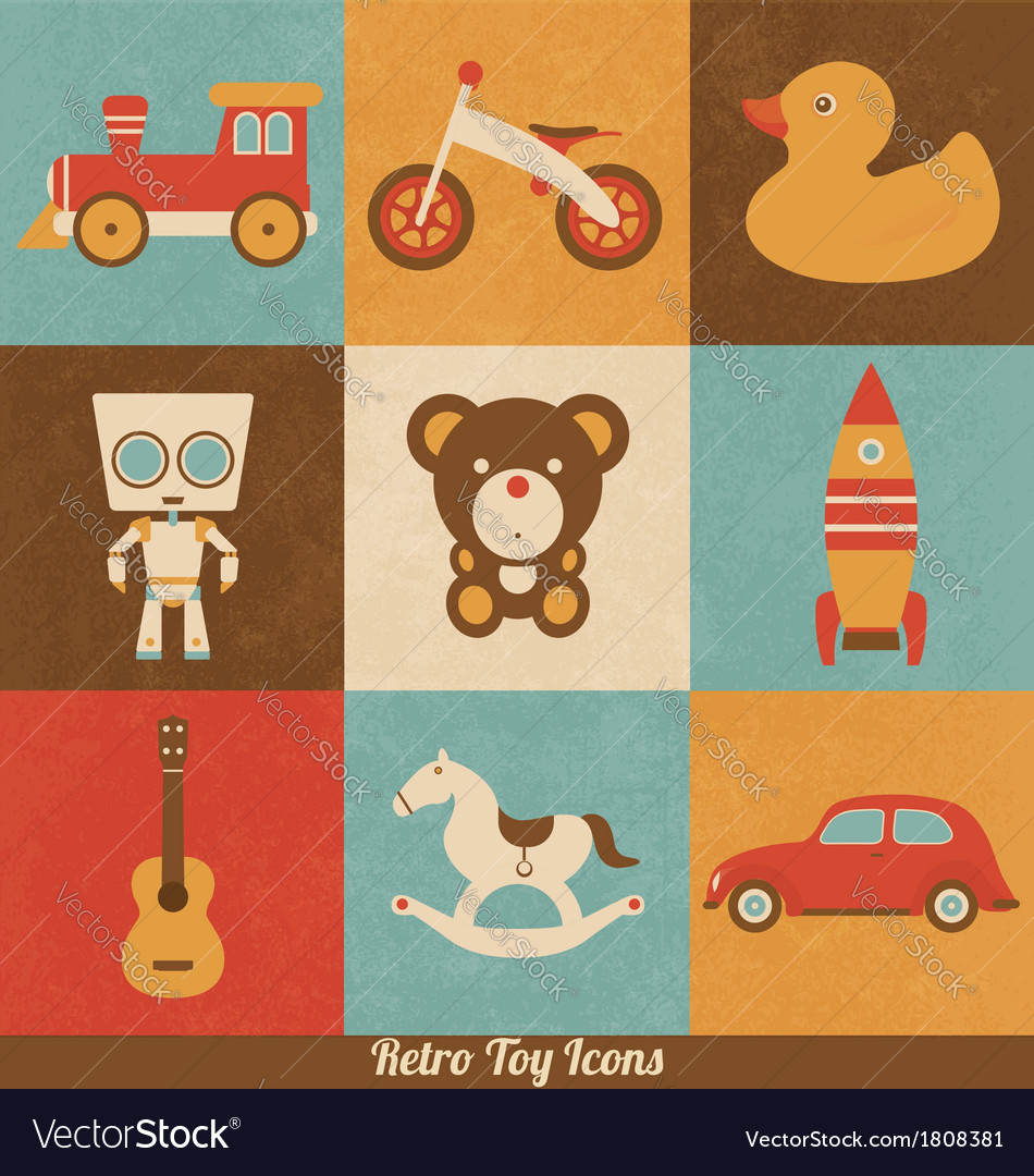 Retro toy icons vector