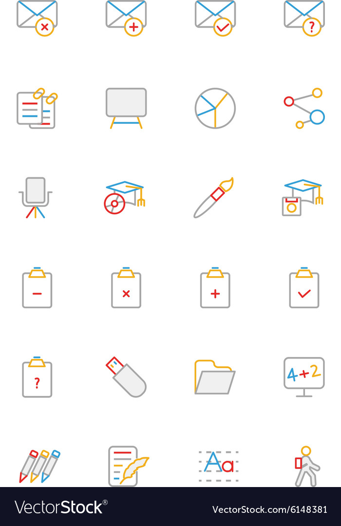 School and education colored line icons 8 vector