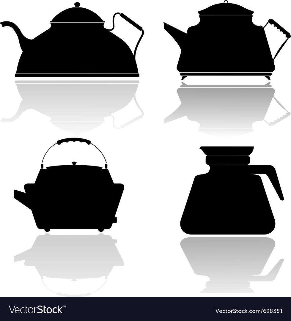 Silhouettes of teapots vector