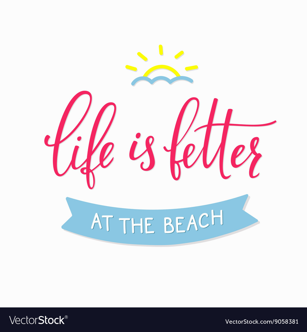 Summer beach lettering typography vector