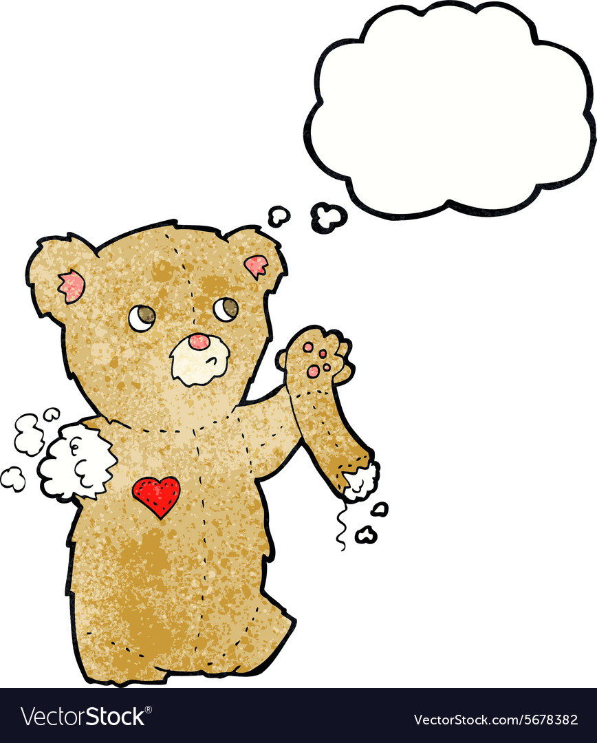 Cartoon teddy bear with torn arm with thought vector
