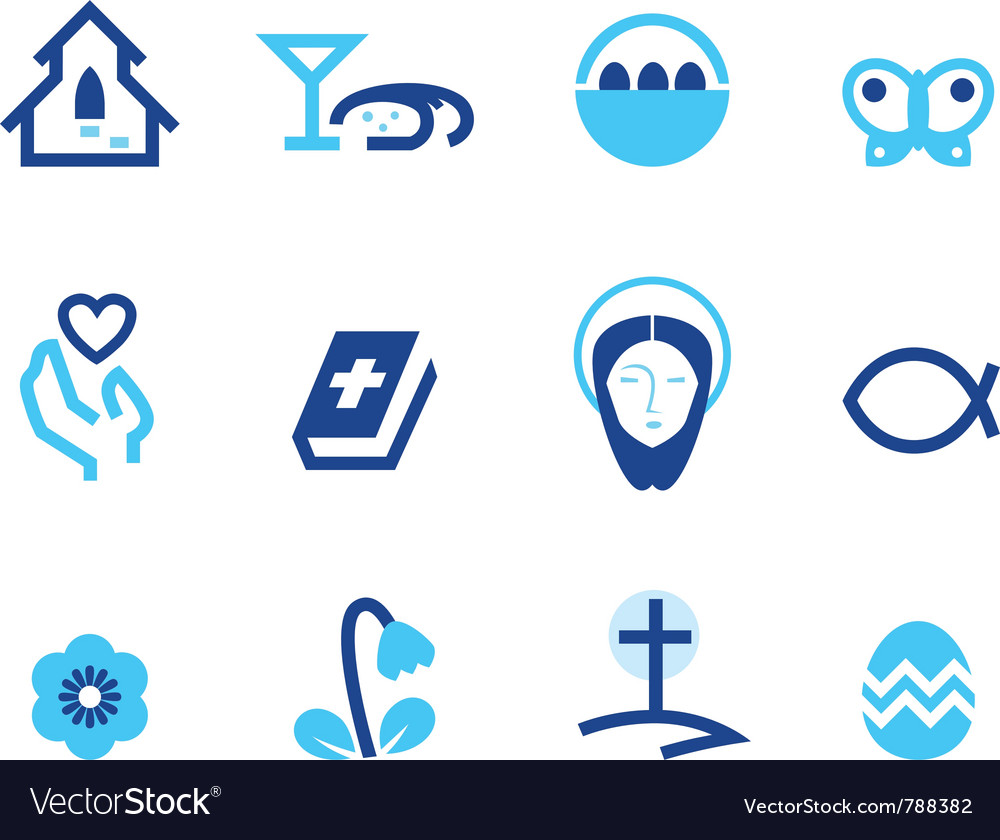Easter and christianity icon set vector