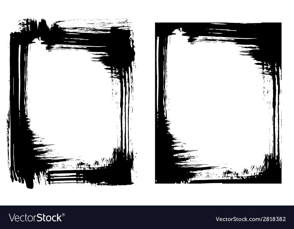 Grunge brush smear frame 2 variations vector