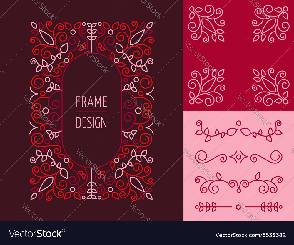 Retro vintage hispter monogram set line design vector