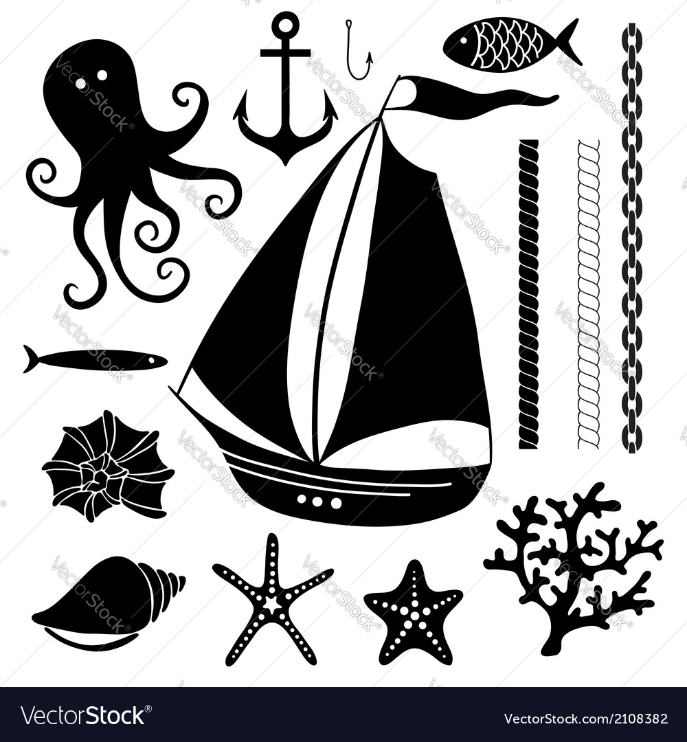 Silhouette sea  hand drawn set of sea symbols vector