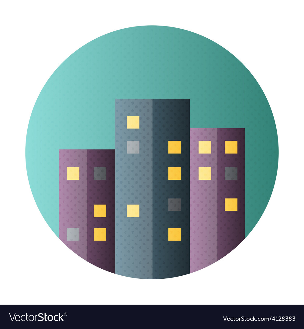 Urban city flat circle icon vector