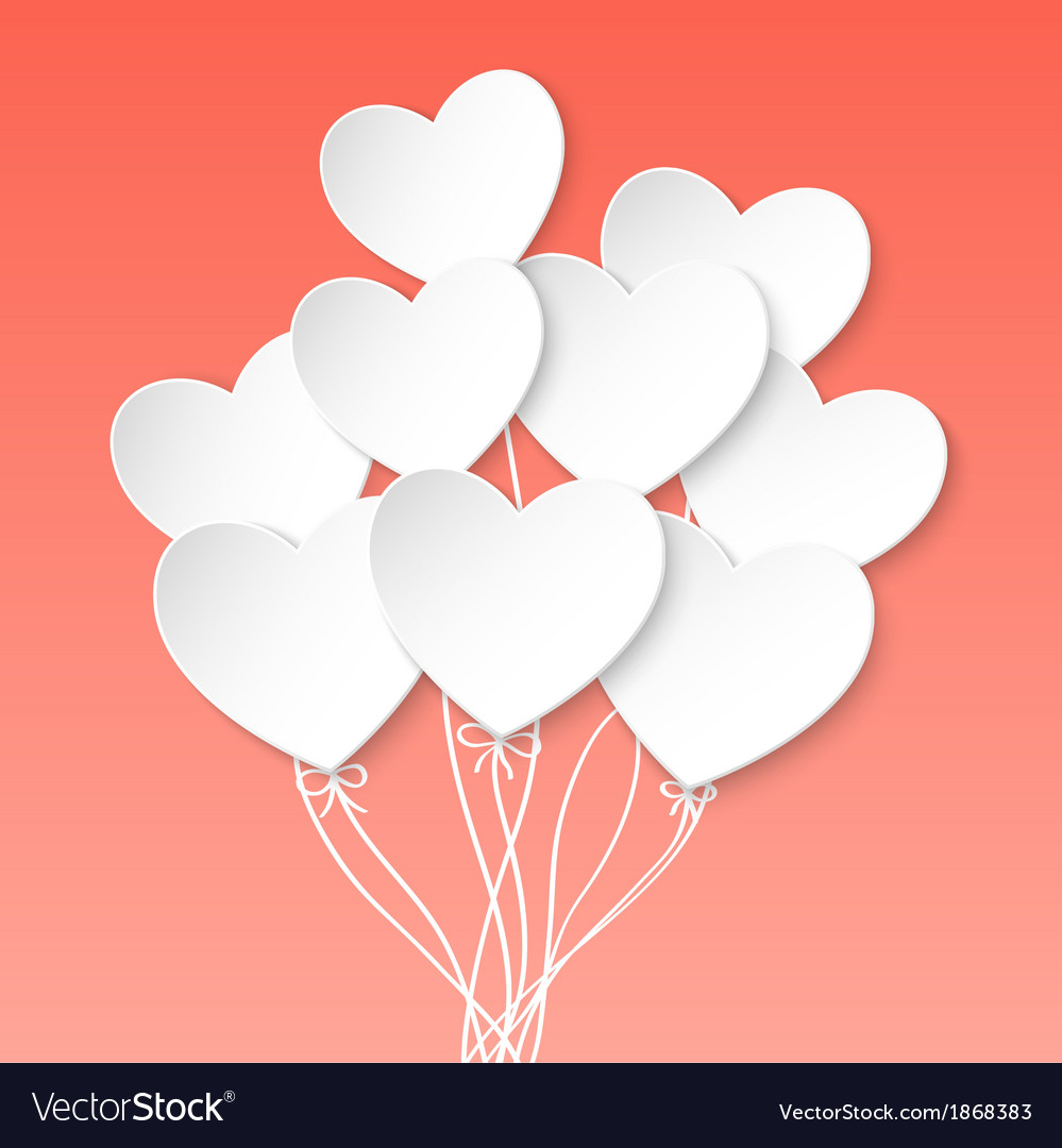 Valentines day heart balloons on pink background vector