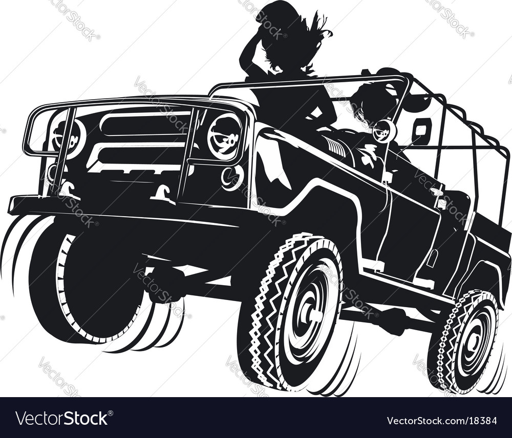 Russian jeep silhouette vector