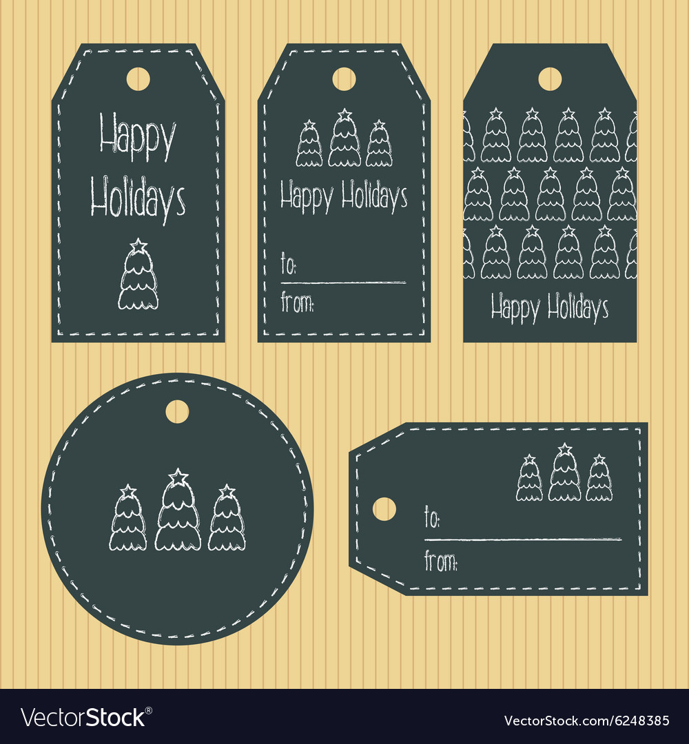 Christmas gift tags from chalky texture ready to vector