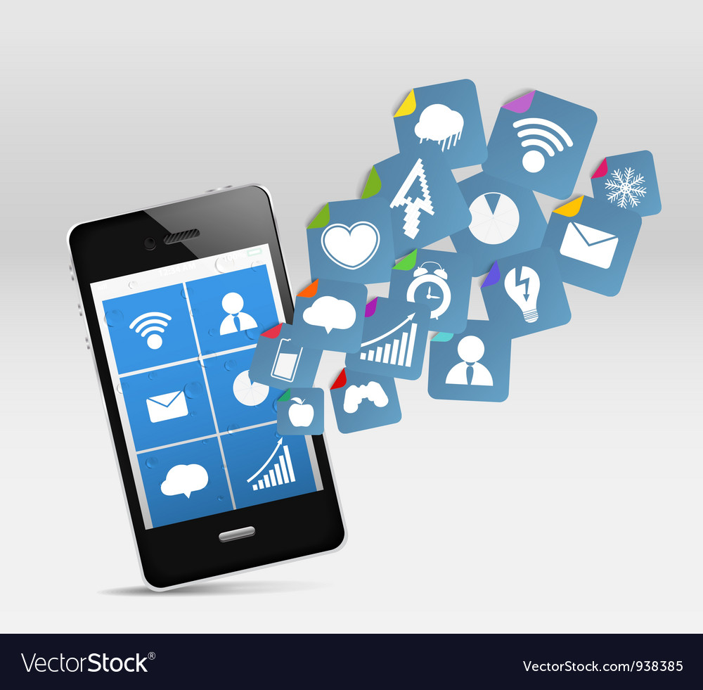 Smartphone app icons vector