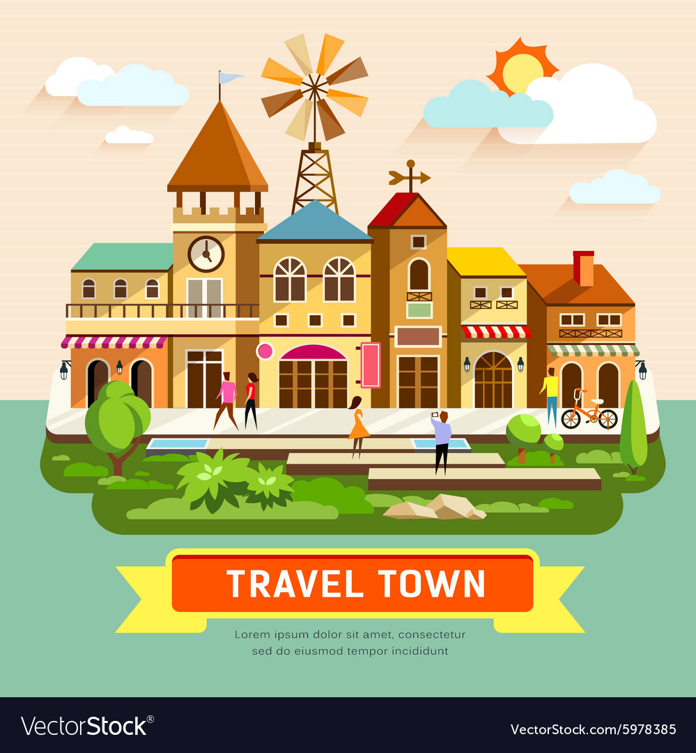 Travel town vintage building vector