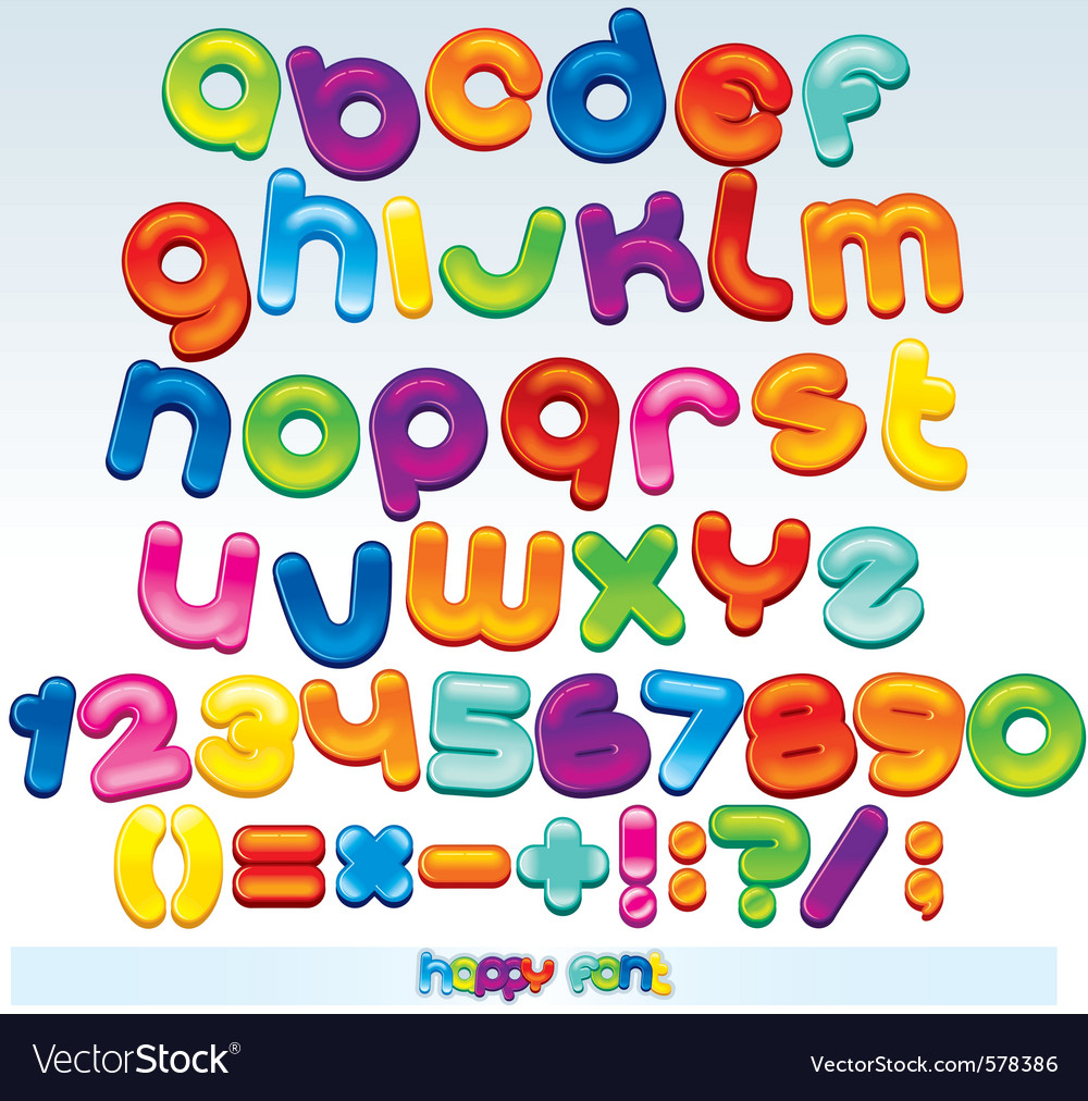 Joyful cartoon font vector