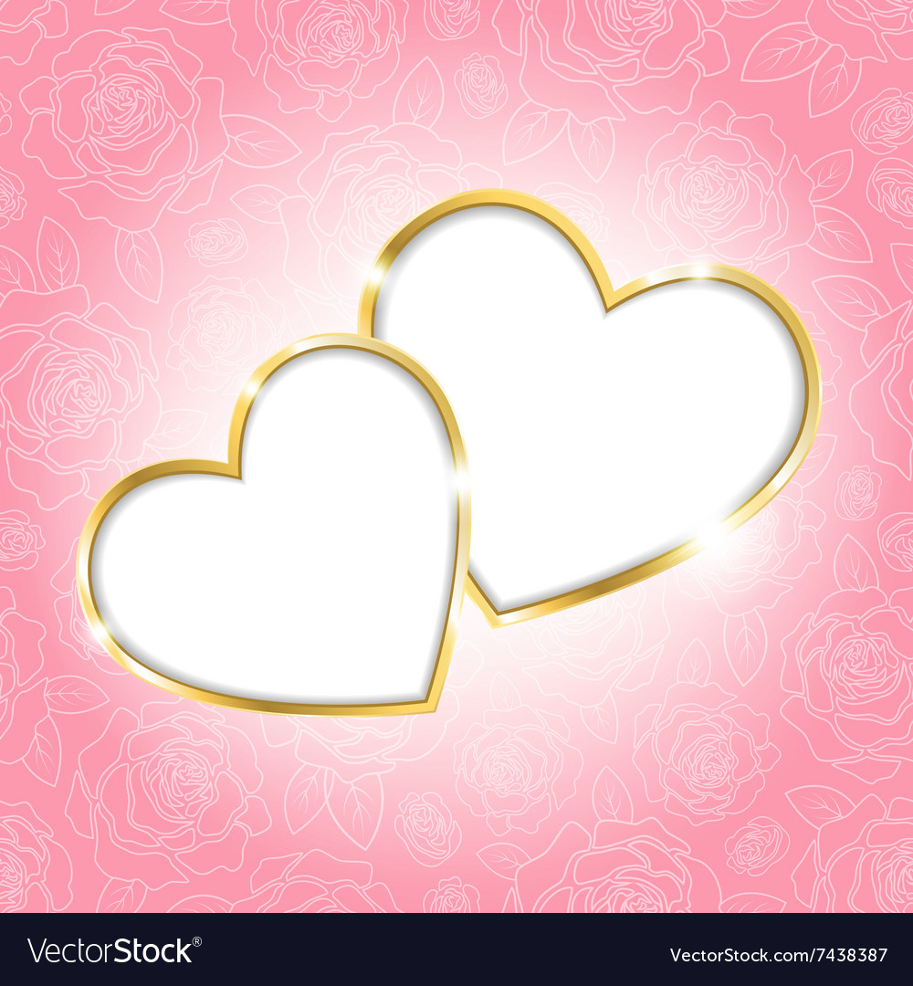 Two hearts on a pink background vector