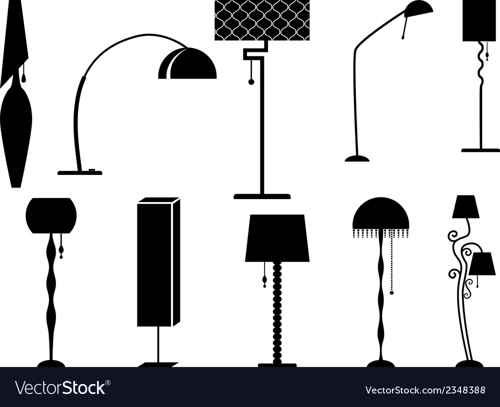 Sets of silhouette lamp and chandelier vector