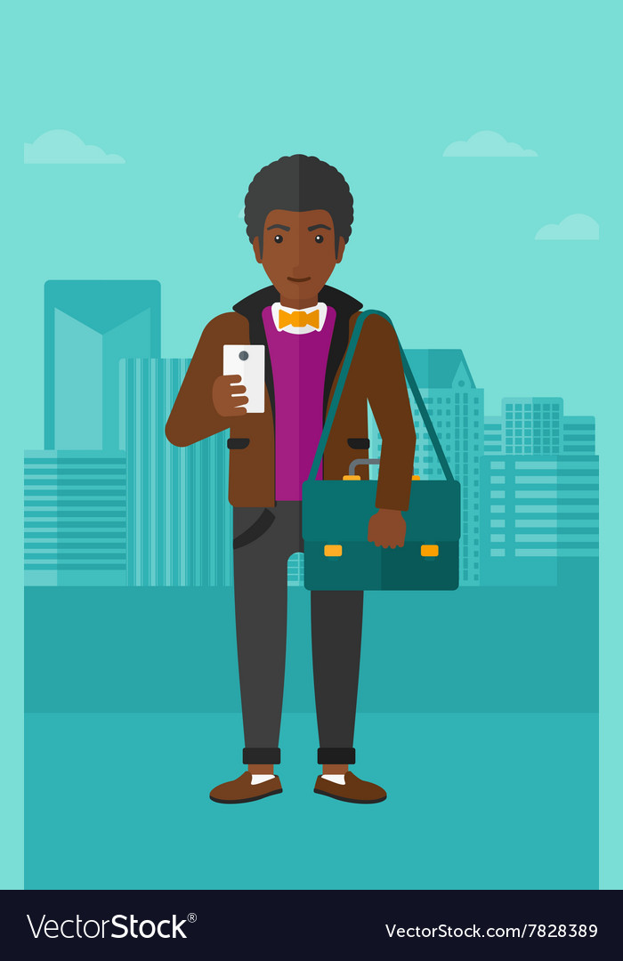 Man using smartphone vector