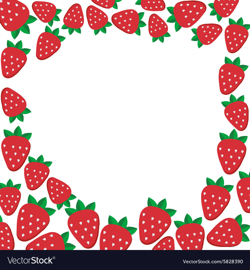 Frame with strawberries template for vector