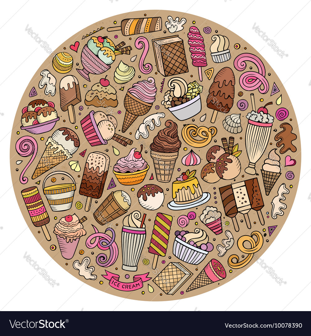 Set of ice cream cartoon doodles objects vector