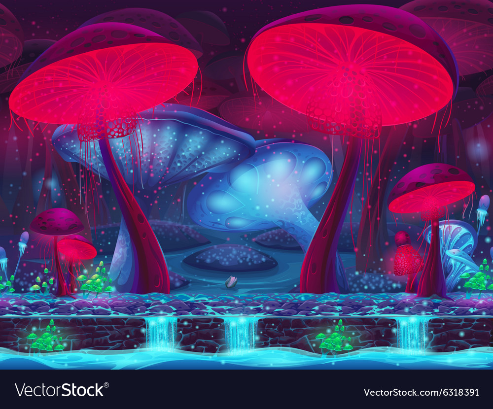 Magic mushroom hollow mystical background vector