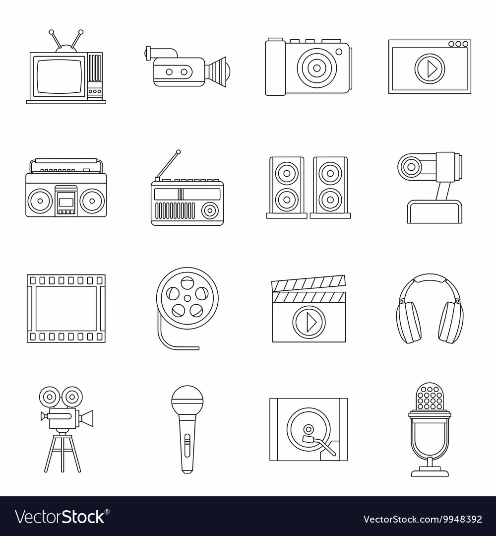 Audio and video icons set outline style vector