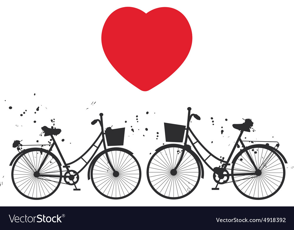 Black bike and red heart on white background vector