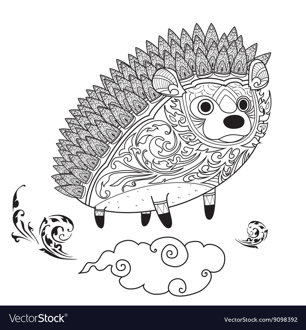 Hedgehog cute coloring vector
