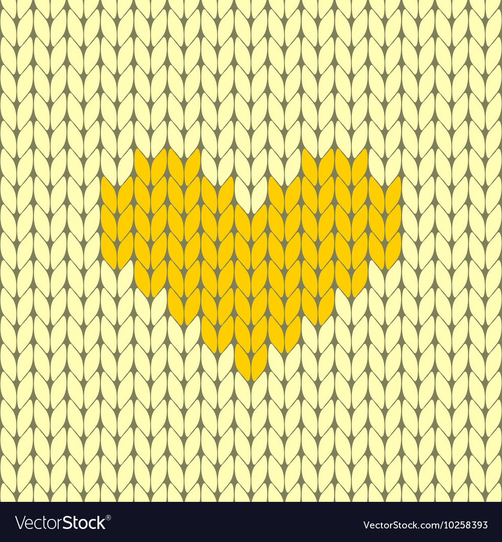 Knitted heart seamless pattern vector