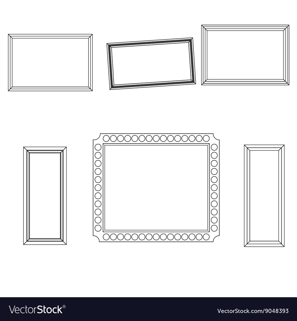 Linear frame set fo picture photo design vector