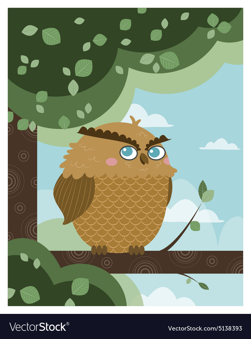 Owl in a branch vector