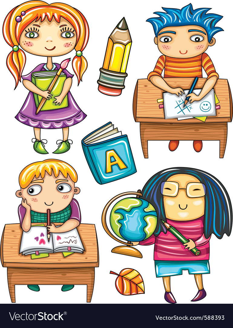 Schoolchildren set 2 vector