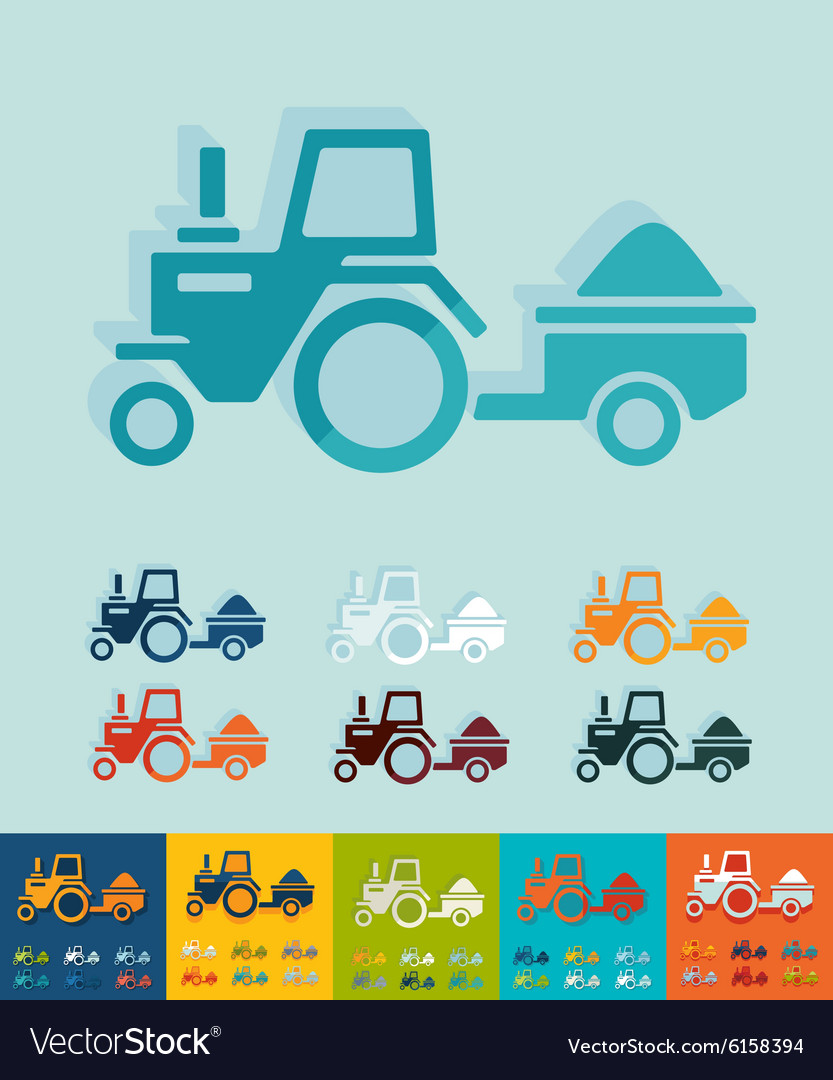 Flat design tractor with trailer vector