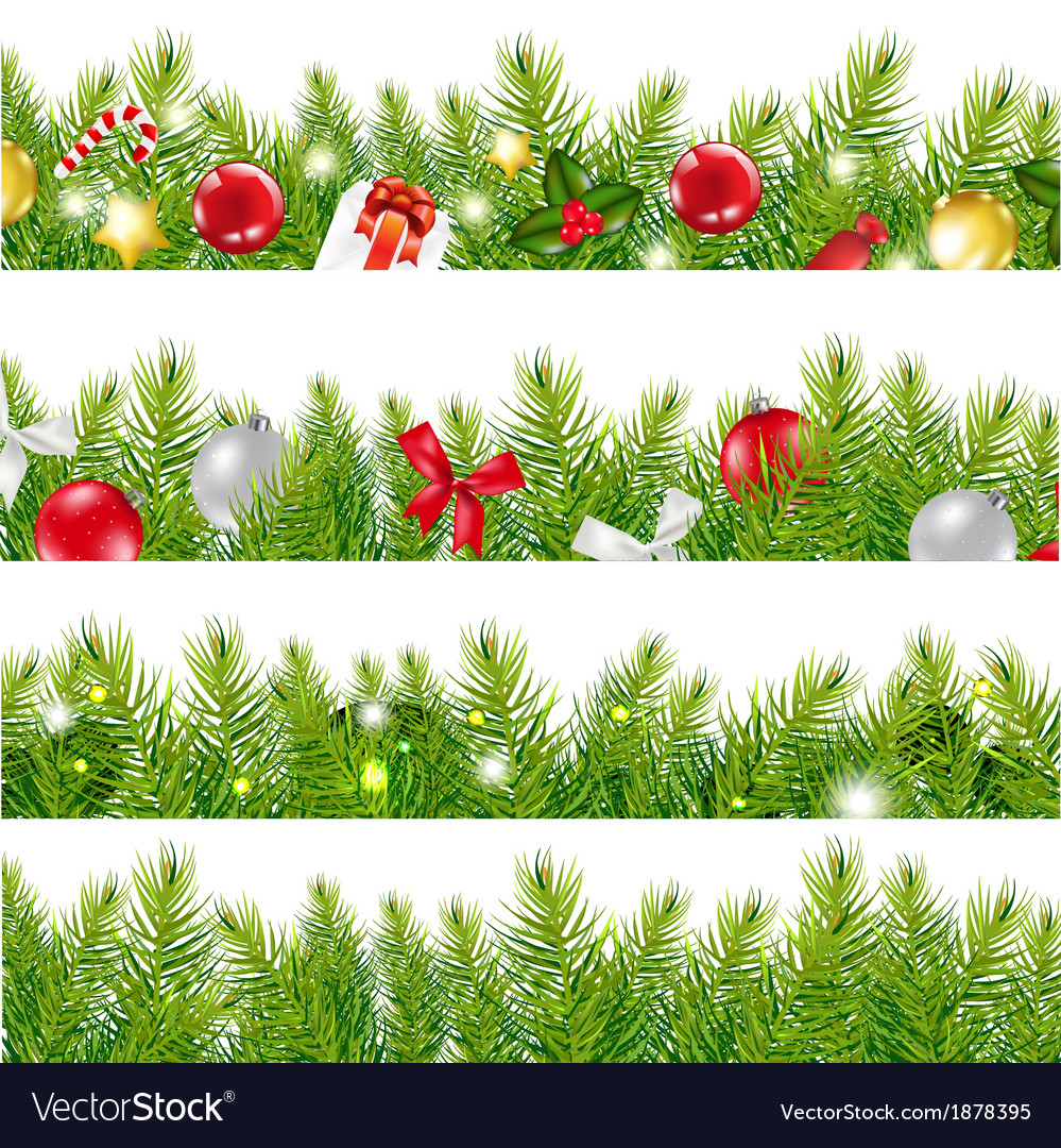 Big borders set with christmas tree vector