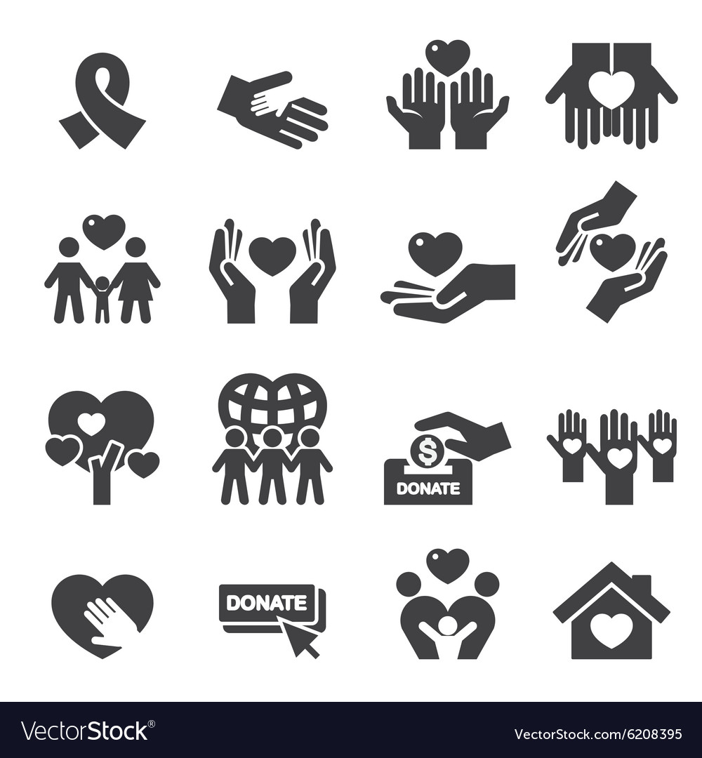 Charity silhouette icons vector