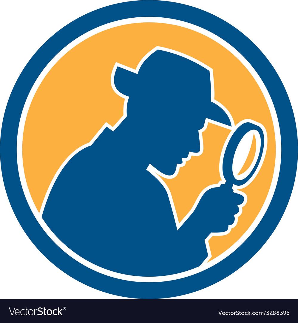 Detective holding magnifying glass circle retro vector