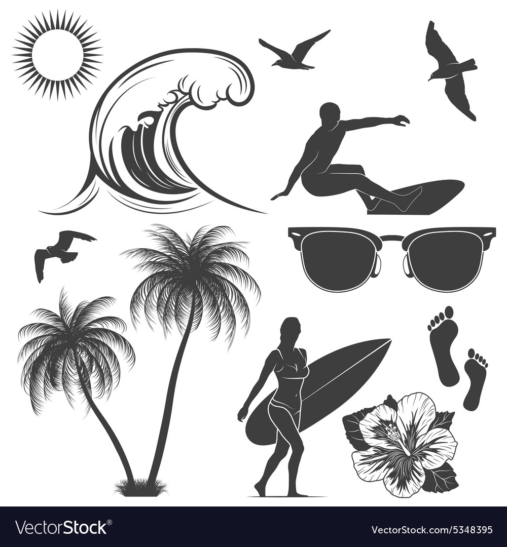 Set of surfing design elements vector