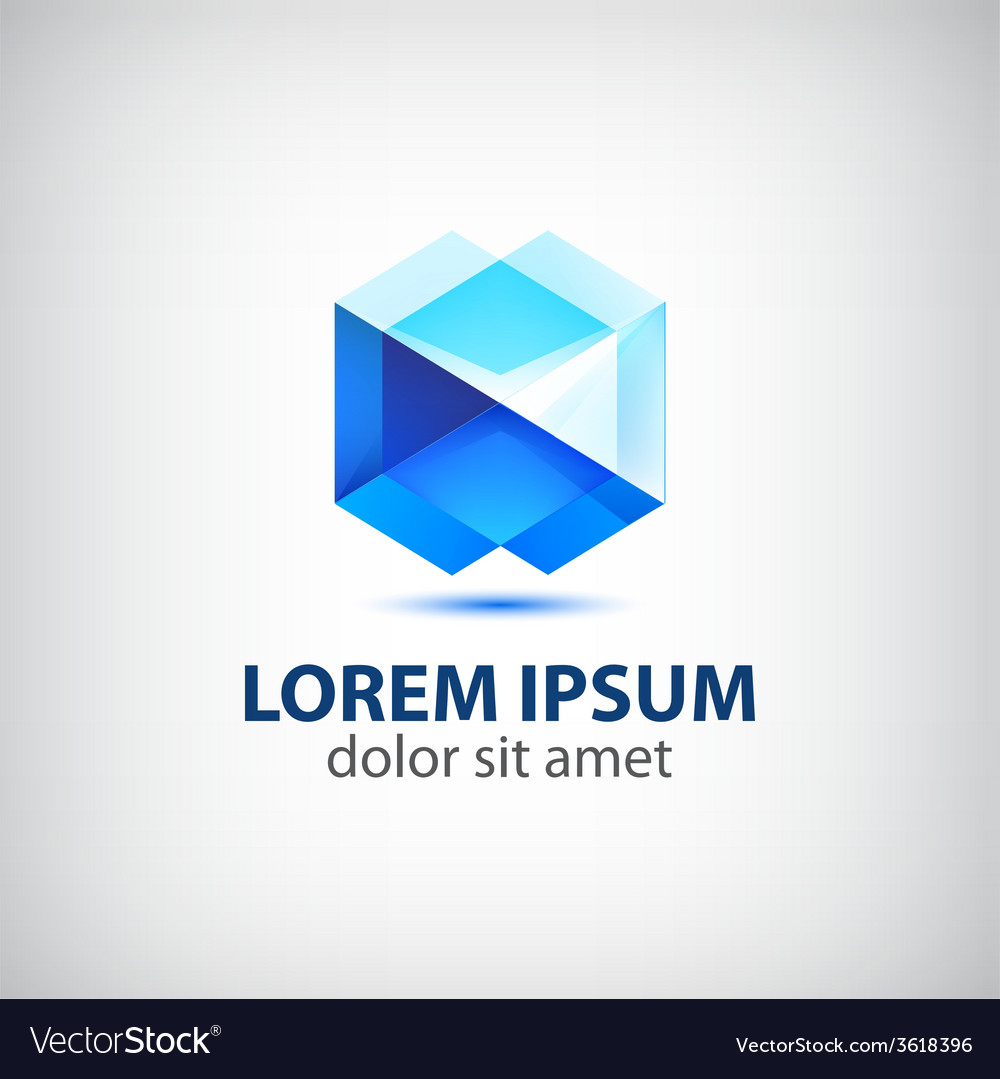 Abstract polygon futuristic blue icon logo vector