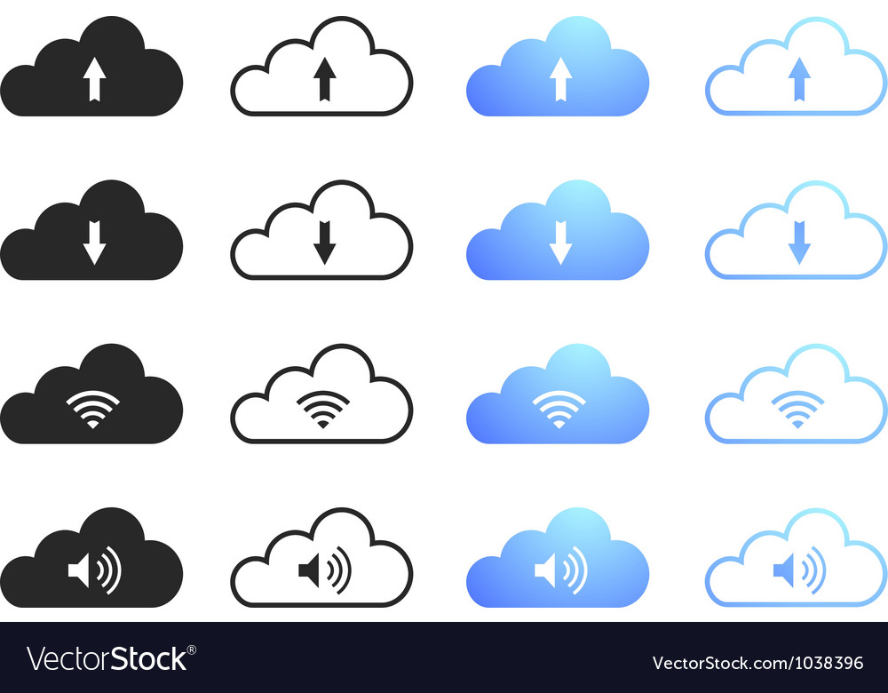 Cloud computing icons  set 1 vector