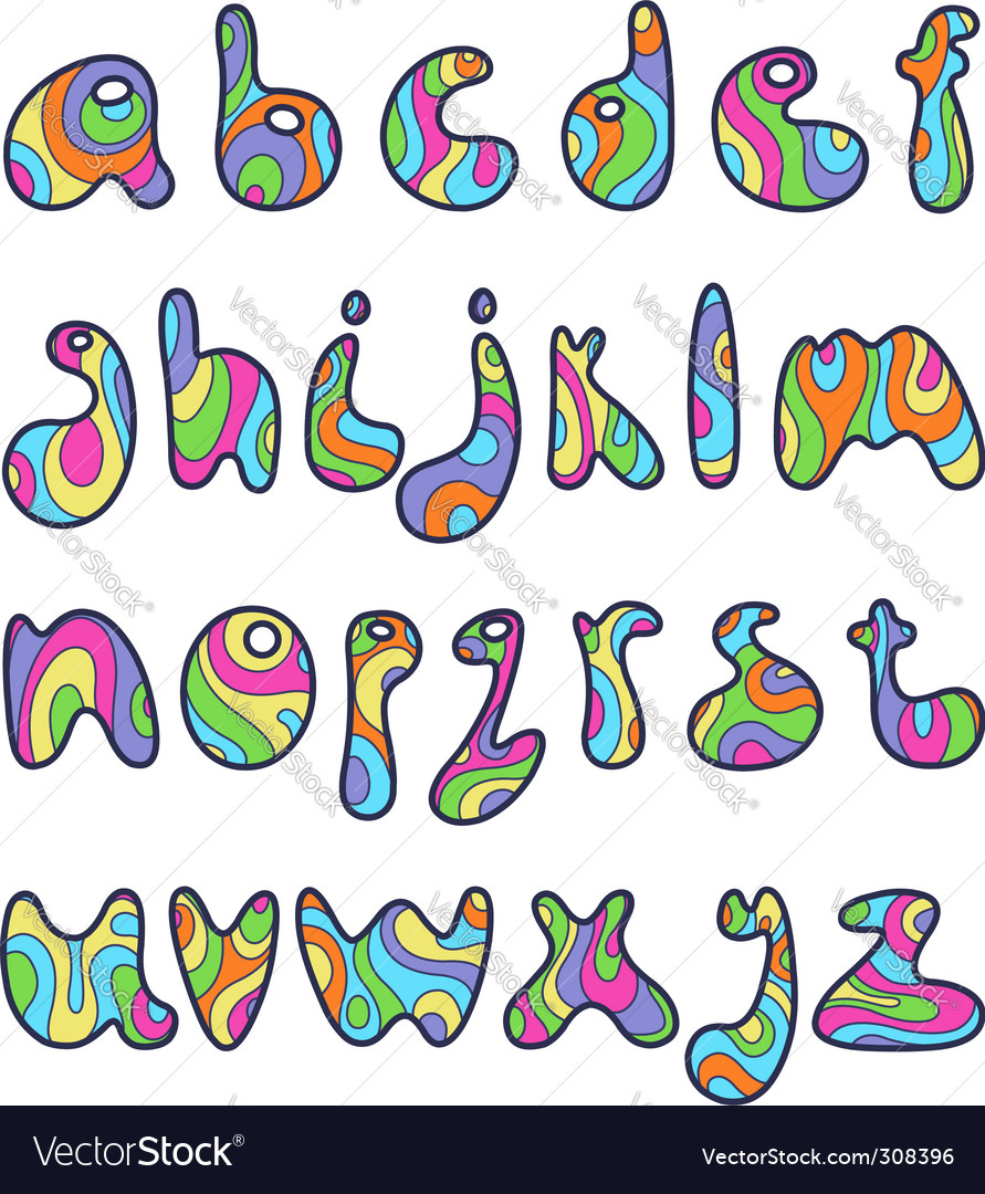 Psychedelic alphabet letters vector