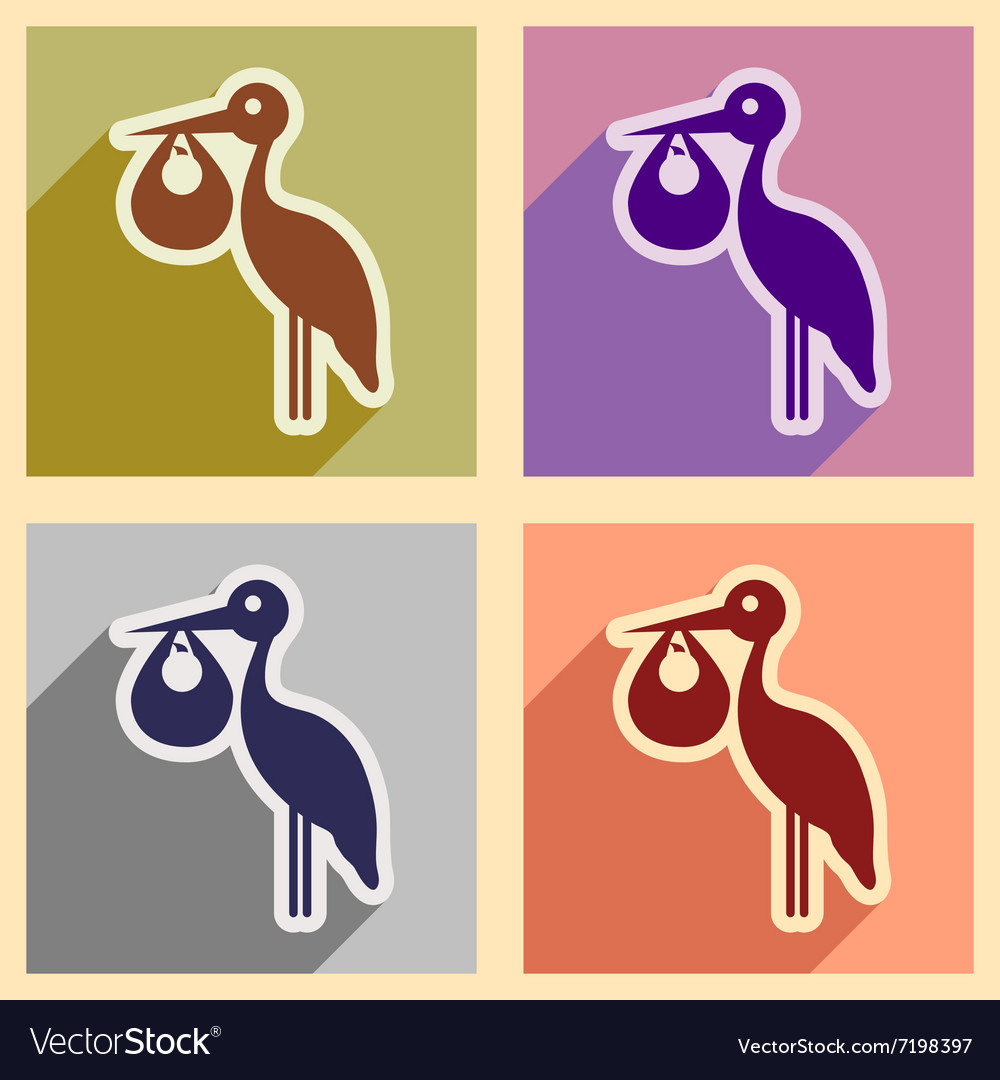 Set flat icons with long shadow stork and newborn vector