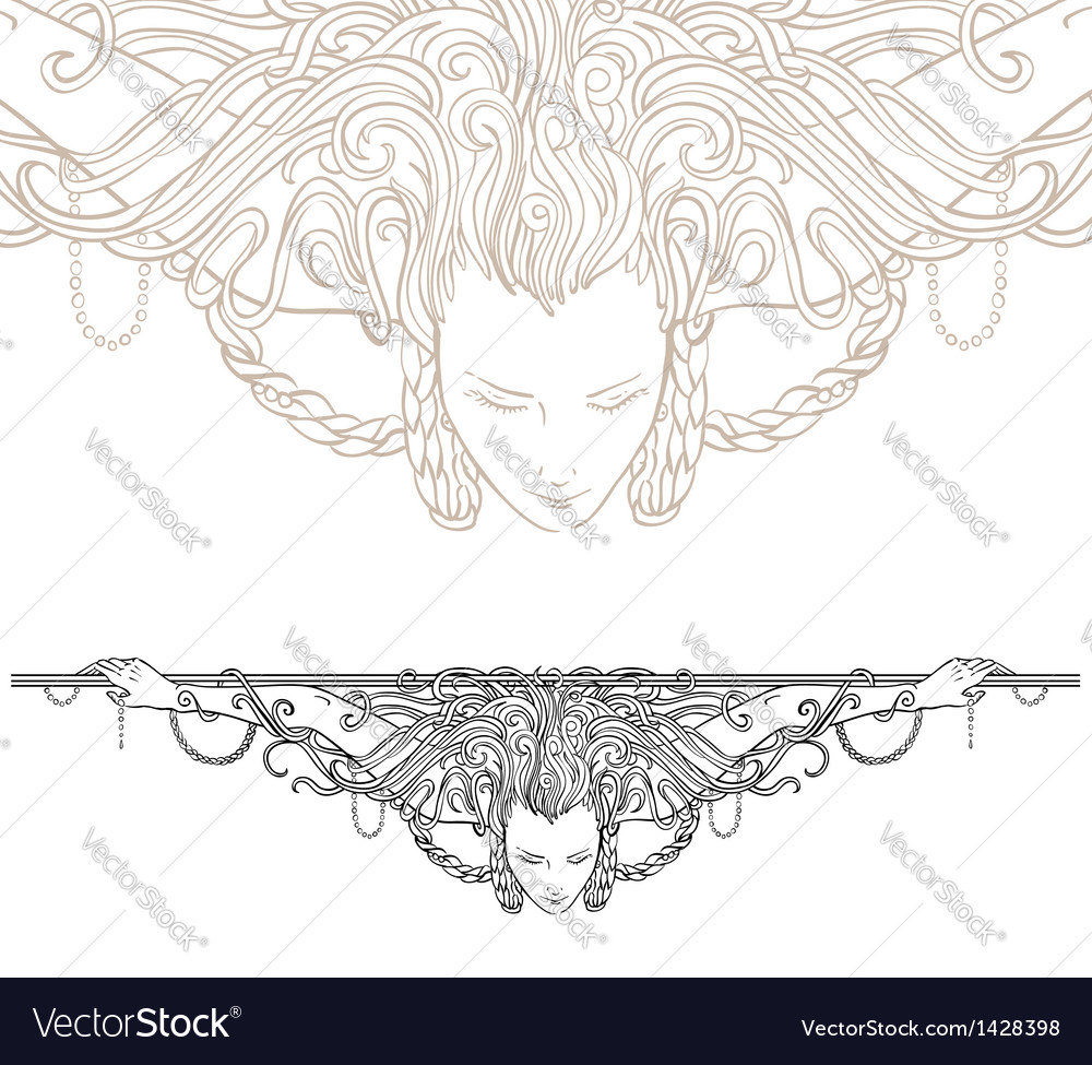 Decorative divider as vintage engraved woman vector