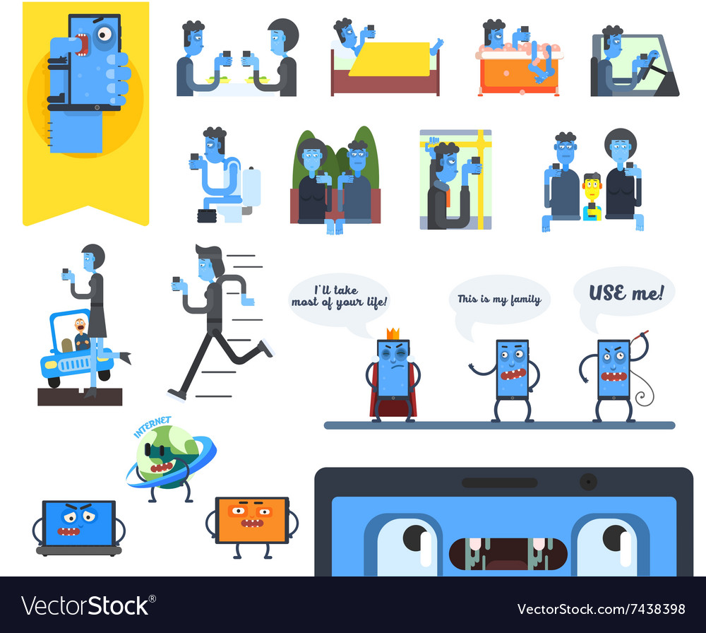 Smartphone addiction set vector