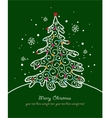 Christmas card with tree and ornaments Xmas card vector image