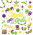 celebration background with set mardi gras and vector image vector image