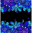 Flower blue on black background vector image vector image