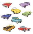 Retro autos white background vector image