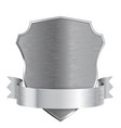 metal shield with ribbon scratched metal texture vector image
