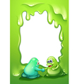 A border template with two monsters handshaking vector image vector image