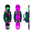 snowboards with bindings and backpack vector image