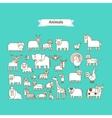 Animals Line Art Icons vector image