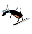 Dog a snowboarder vector image